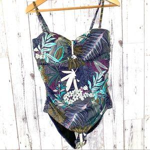 NWT coastal blue one piece hawaiian swim suit 12